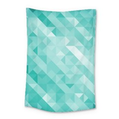 Bright Blue Turquoise Polygonal Background Small Tapestry by TastefulDesigns