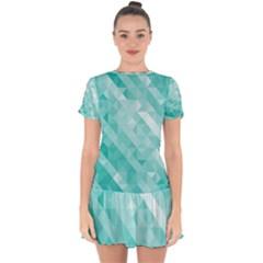 Bright Blue Turquoise Polygonal Background Drop Hem Mini Chiffon Dress by TastefulDesigns