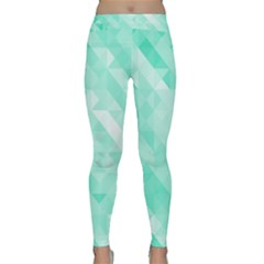 Bright Green Turquoise Geometric Background Classic Yoga Leggings by TastefulDesigns