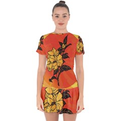 Vector Asian Flowers Drop Hem Mini Chiffon Dress by BangZart