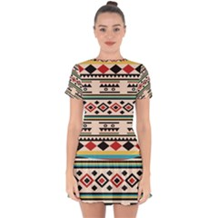 Tribal Pattern Drop Hem Mini Chiffon Dress by BangZart