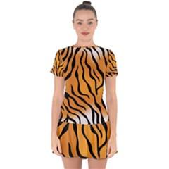 Tiger Skin Pattern Drop Hem Mini Chiffon Dress by BangZart