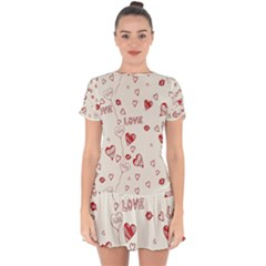 Pattern Hearts Kiss Love Lips Art Vector Drop Hem Mini Chiffon Dress by BangZart