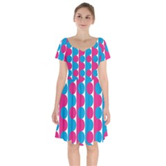 Pink And Bluedots Pattern Short Sleeve Bardot Dress by BangZart