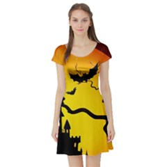 Halloween Night Terrors Short Sleeve Skater Dress