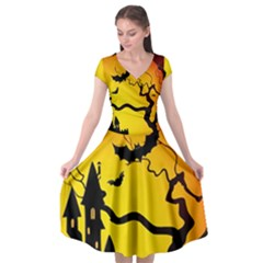 Halloween Night Terrors Cap Sleeve Wrap Front Dress by BangZart
