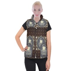 Coffee House Women s Button Up Puffer Vest by BangZart