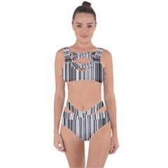 Barcode Pattern Bandaged Up Bikini Set  by BangZart