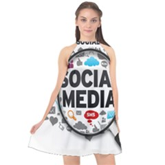 Social Media Computer Internet Typography Text Poster Halter Neckline Chiffon Dress