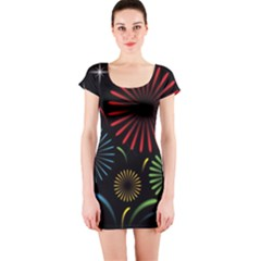 Fireworks With Star Vector Short Sleeve Bodycon Dress by BangZart