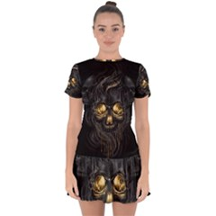 Art Fiction Black Skeletons Skull Smoke Drop Hem Mini Chiffon Dress by BangZart