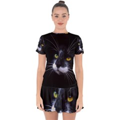 Face Black Cat Drop Hem Mini Chiffon Dress by BangZart
