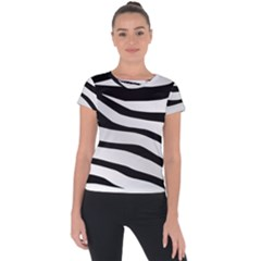 White Tiger Skin Short Sleeve Sports Top  by BangZart