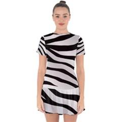 White Tiger Skin Drop Hem Mini Chiffon Dress by BangZart