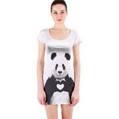 Panda Love Heart Short Sleeve Bodycon Dress
