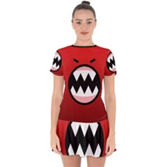 Funny Angry Drop Hem Mini Chiffon Dress by BangZart