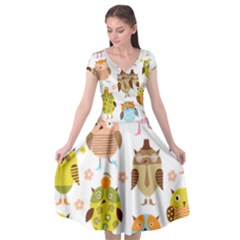 Cute Owls Pattern Cap Sleeve Wrap Front Dress