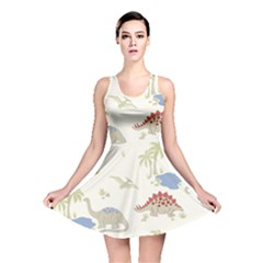 Dinosaur Art Pattern Reversible Skater Dress