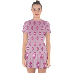 Alien Pattern Pink Drop Hem Mini Chiffon Dress by BangZart