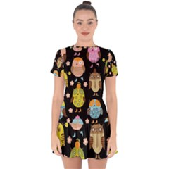 Cute Owls Pattern Drop Hem Mini Chiffon Dress by BangZart