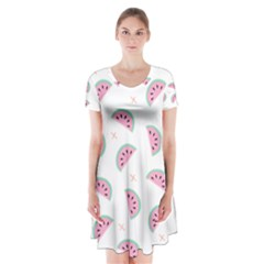 Watermelon Wallpapers  Creative Illustration And Patterns Short Sleeve V Neck Flare Dress by BangZart