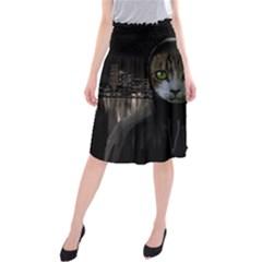 Gangsta Cat Midi Beach Skirt by Valentinaart
