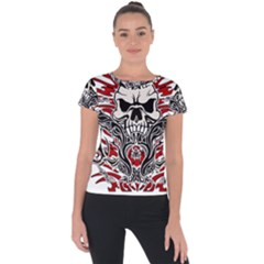 Skull Tribal Short Sleeve Sports Top