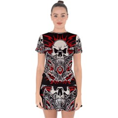 Skull Tribal Drop Hem Mini Chiffon Dress by Valentinaart