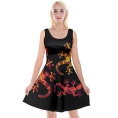 Ornate Lizards Reversible Velvet Sleeveless Dress by Valentinaart