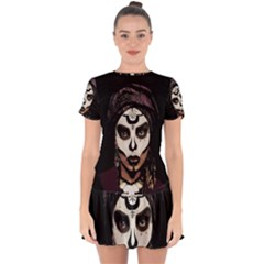 Voodoo  Witch  Drop Hem Mini Chiffon Dress by Valentinaart