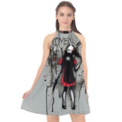 Come Play With Me   Halter Neckline Chiffon Dress  by lvbart