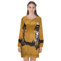 Motorsport  Long Sleeve Chiffon Shift Dress  by Valentinaart