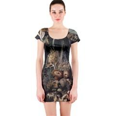 Underwater Short Sleeve Bodycon Dress by Valentinaart