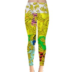 Colorful Falling Banana Pattern Leggings  by PattyVilleDesigns