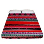 Red African Tribal Mix Fitted Sheet (Queen Size)