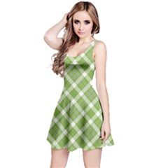 Green And White Diagonal Plaid Reversible Sleeveless Dress by NorthernWhimsy