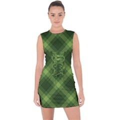 Dark Green Diagonal Plaid Lace Up Front Bodycon Dress by NorthernWhimsy