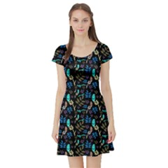 Folk Art Yggdrasil Short Sleeve Skater Dress by greenthanet