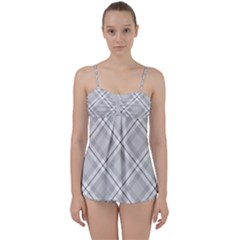 Grey Diagonal Plaid Babydoll Tankini Set by NorthernWhimsy