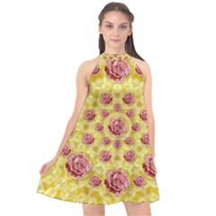 Roses And Fantasy Roses Halter Neckline Chiffon Dress  by pepitasart