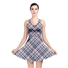 Navy And Pink Diagonal Plaid Reversible Skater Dress by NorthernWhimsy