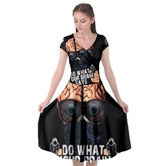Do What Your Brain Says Cap Sleeve Wrap Front Dress by Valentinaart