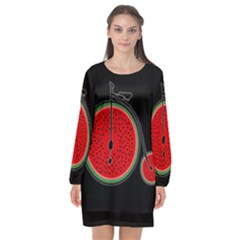 Watermelon Bicycle  Long Sleeve Chiffon Shift Dress  by Valentinaart