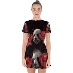 Boxing Panda  Drop Hem Mini Chiffon Dress by Valentinaart