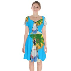 Tropical Penguin Short Sleeve Bardot Dress by Valentinaart