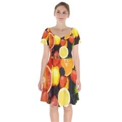 Fruits Pattern Short Sleeve Bardot Dress