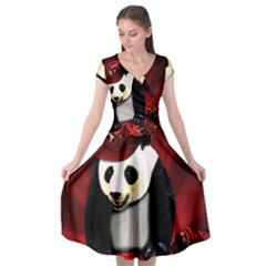 Deejay Panda Cap Sleeve Wrap Front Dress by Valentinaart