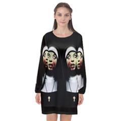 Horror Nuns Long Sleeve Chiffon Shift Dress  by Valentinaart