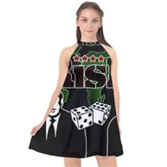 Nuclear Explosion Trump And Kim Jong Halter Neckline Chiffon Dress  by Valentinaart