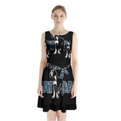 Great Dane Sleeveless Waist Tie Chiffon Dress by Valentinaart